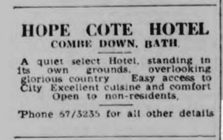 Hope Cote hotel - Bath Chronicle and Weekly Gazette - Saturday 7 January 1950