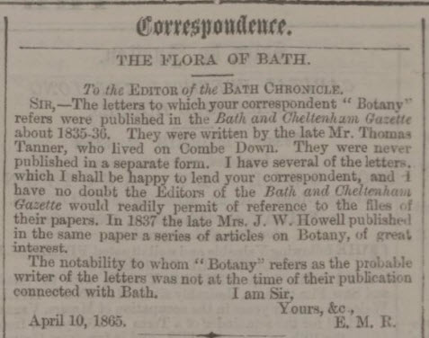 Information about Thomas Tanner - Bath Chronicle and Weekly Gazette - Thursday 13 April 1865