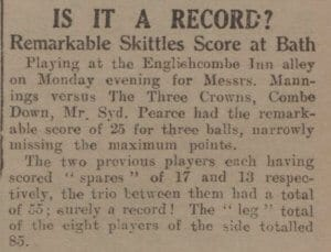 Is it a record skittles score - Bath Chronicle and Weekly Gazette - Saturday 20 May 1933