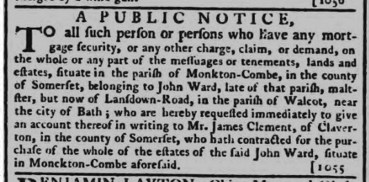 John Ward, maltster of Monkton Combe - Bath Chronicle and Weekly Gazette - Thursday 20 December 1781