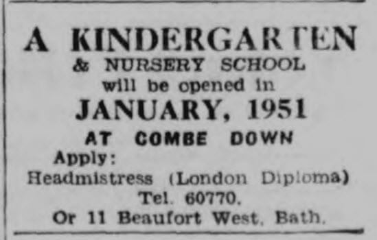 Kindergarten - Bath Chronicle and Weekly Gazette - Saturday 23 December 1950