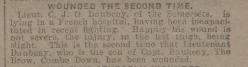 Lt C J O Daubeney wounded - Bath Chronicle and Weekly Gazette - Saturday 28 April 1917