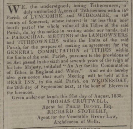 Lyncombe & Widcombe tithes commutation - Bath Chronicle and Weekly Gazette - Thursday 20 September 1838