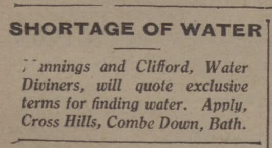 Mannings & Clifford water diviners - Bath Chronicle and Weekly Gazette - Saturday 7 July 1934