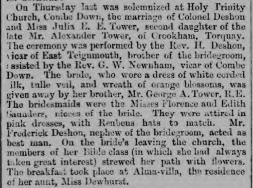 Marriage breakfast at Alma Villa - Bath Chronicle and Weekly Gazette - Thursday 26 August 1875