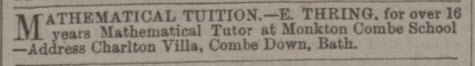 Maths tuition ad from EJH Thring - Bath Chronicle and Weekly Gazette - Thursday 11 April 1895