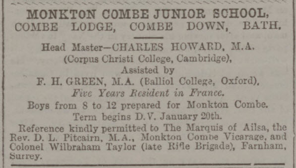Monkton Combe Junior School at Combe Lodge - Bath Chronicle and Weekly Gazette - Thursday 31 December 1891