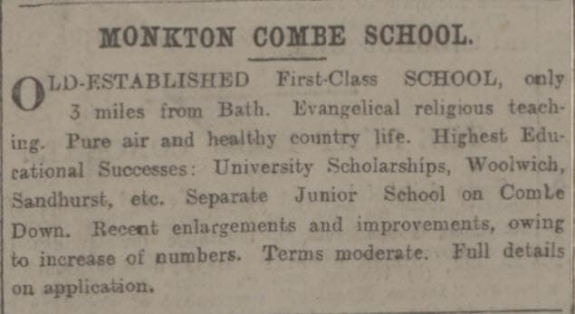 Monkton Combe school - Bath Chronicle and Weekly Gazette - Thursday 26 October 1899