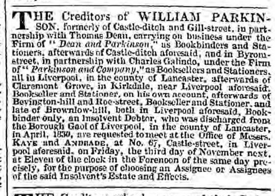 Parkinson creditors - Liverpool Mercury - Friday 20 October 1837