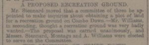 Proposal for a recreation ground on Combe Down - Bath Chronicle and Weekly Gazette - Thursday 5 August 1897