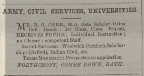 R G Carr tutor - Bath Chronicle and Weekly Gazette - Thursday 19 June 1890