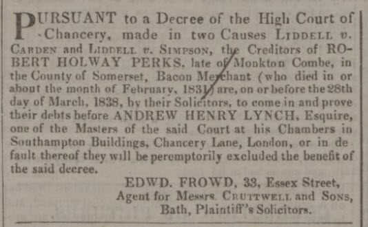 Robert Holway Perks debt notice - Bath Chronicle and Weekly Gazette - Thursday 8 March 1838