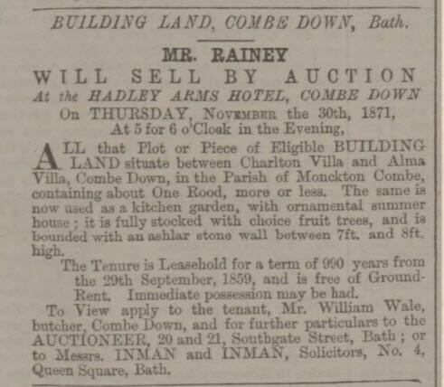 Rutland Villa land sale - Bath Chronicle and Weekly Gazette - Thursday 16 November 1871