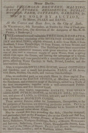Sale of Monkton Combe brewery - Bath Chronicle and Weekly Gazette - Thursday 10 November 1831