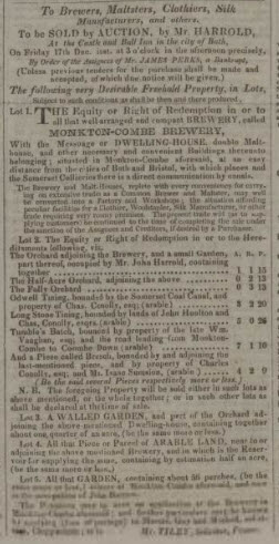 Sale of Monkton Combe brewery - Bath Chronicle and Weekly Gazette - Thursday 2 December 1824