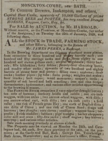 Sale of Monkton Combe brewery - Bath Chronicle and Weekly Gazette - Thursday 20 January 1825
