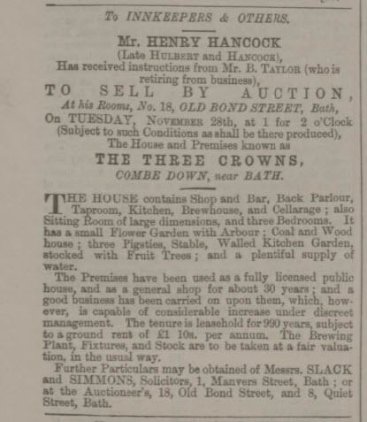 Sale of the Three Crowns, Combe Down - Bath Chronicle and Weekly Gazette - Thursday 9 November 1865