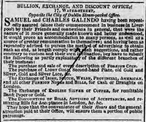 Samuel and Charles Galido advert in Liverpool - Liverpool Mercury - Friday 28 September 1827