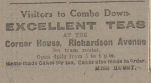 Teas at Corner House, Richardson Avenue - Bath Chronicle and Weekly Gazette - Saturday 15 January 1921