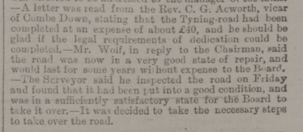 The completion of Tyning Road - Bath Chronicle and Weekly Gazette - Thursday 26 August 1886
