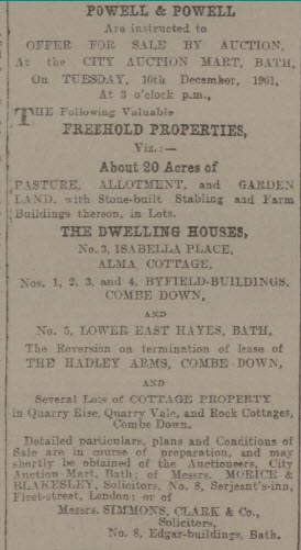 The Hadleys start to sell up - Bath Chronicle and Weekly Gazette - Thursday 21 November 1901