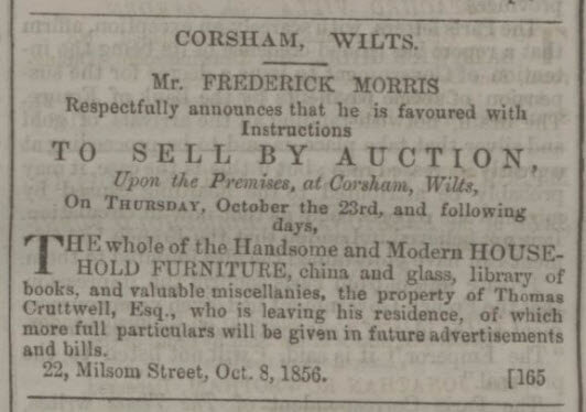 Thomas Cruttwell moves from Corsham - Bath Chronicle and Weekly Gazette - Thursday 9 October 1856