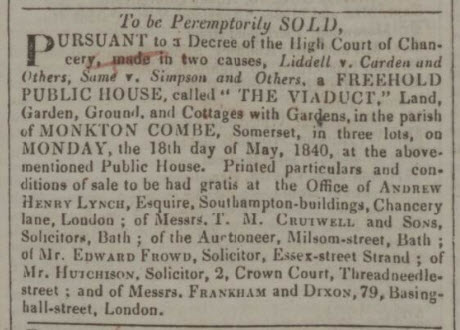 Viaduct Inn for sale Bath Chronicle and Weekly Gazette - Thursday 14 May 1840