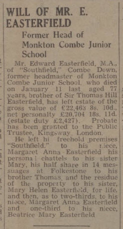 Will of Edward Easterfield - Bath Chronicle and Weekly Gazette - Saturday 19 July 1941