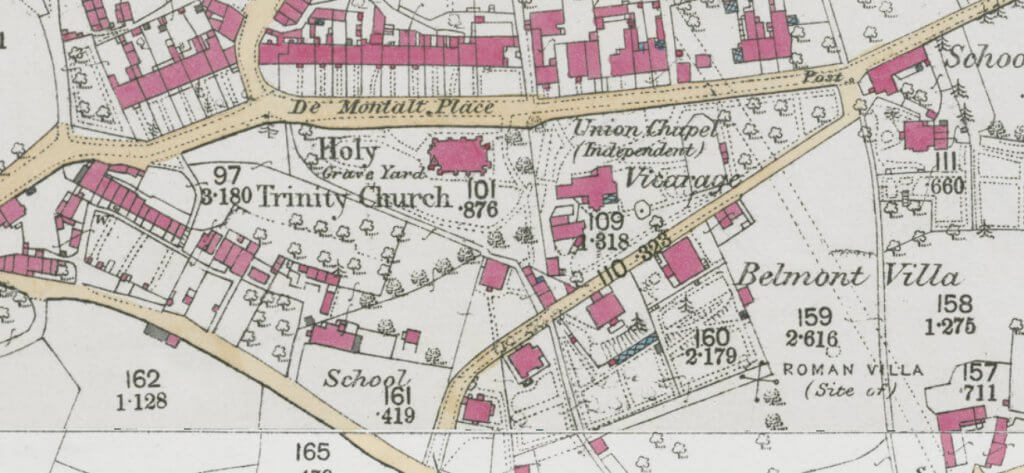 1873 - 1878 map of Combe Down, Belmont area