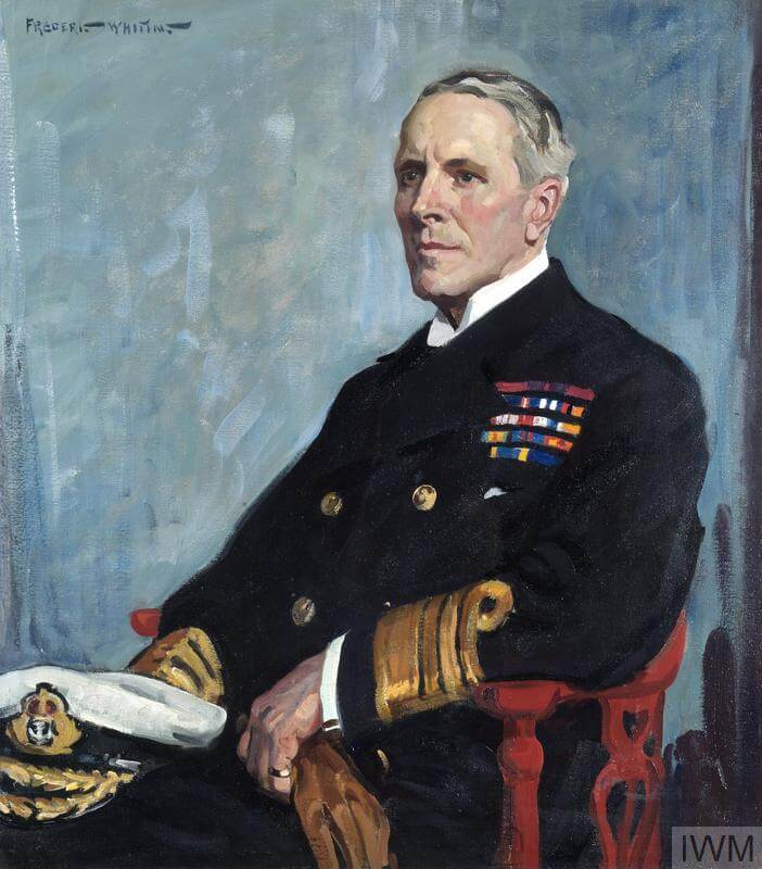 Admiral Sir R H Peirse, KCB, KBE, MVO : 1920 (Art.IWM ART 3056) image: A half length portrait of Peirse, seated and wearing full uniform, with his cap resting on his thigh. Copyright: © IWM. Original Source: http://www.iwm.org.uk/collections/item/object/38018