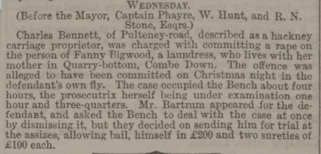 Alleged rape of Fanny Bigwood - Bath Chronicle and Weekly Gazette - Thursday 28 December 1865