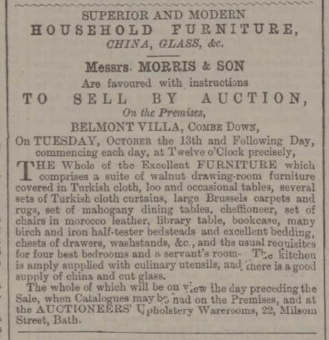 Auction of effects at Belmont Villa - Bath Chronicle and Weekly Gazette - Thursday 1 October 1868