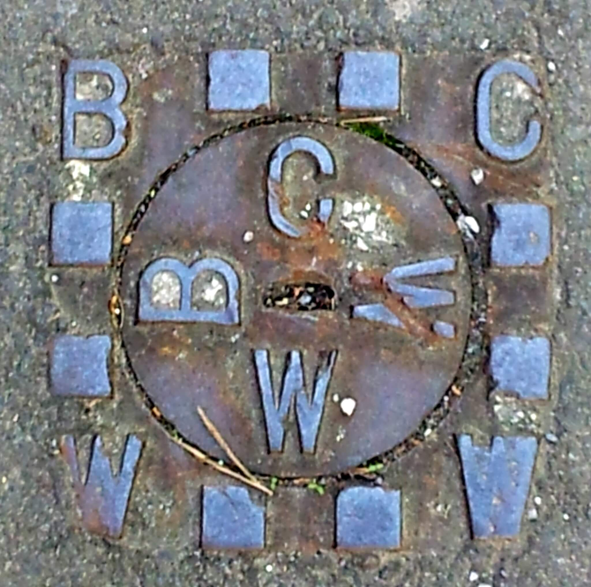 Bath City council waterworks plate on Bradford Road