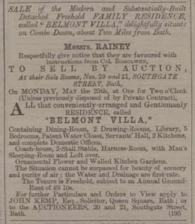Belmont Villa for sale - Bath Chronicle and Weekly Gazette - Thursday 14 May 1863