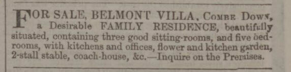 Belmont Villa for sale - Bath Chronicle and Weekly Gazette - Thursday 28 March 1861