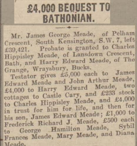 Bequest to Harry Edward Meade - Bath Chronicle and Weekly Gazette - Saturday 1 February 1930