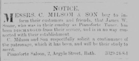 C Milsom & J W Soane - Wiltshire Independent - Thursday 24 August 1865