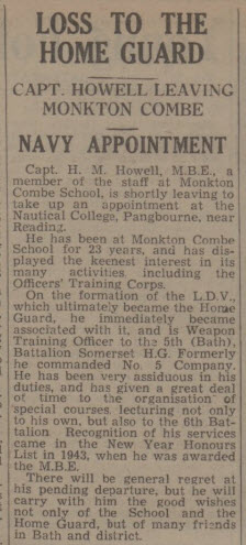 Capt H M Howell moves - Bath Chronicle and Weekly Gazette - Saturday 1 July 1944