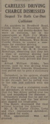 Careless driving charge dismissed - Bath Chronicle and Weekly Gazette - Saturday 4 January 1947