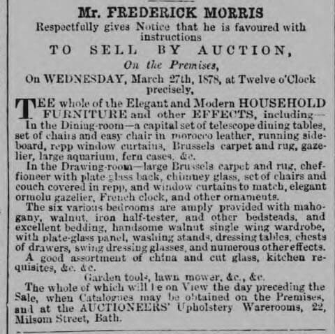 Charity Higgs effects auctioned - Bath Chronicle and Weekly Gazette - Thursday 7 March 1878