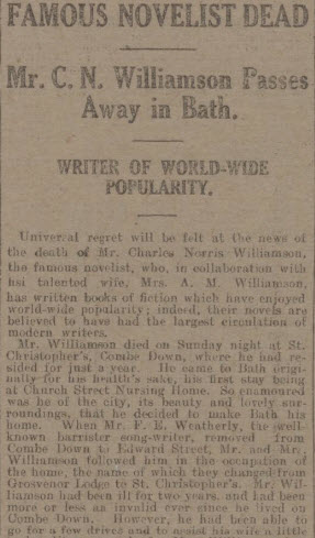 Charles Norris Williamson dies - Bath Chronicle and Weekly Gazette - Saturday 9 October 1920