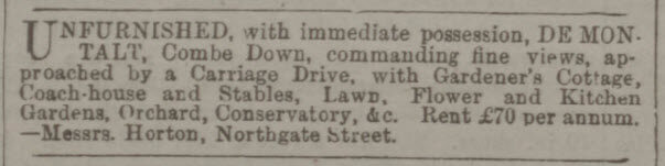 De Montalt for rent - Bath Chronicle and Weekly Gazette - Thursday 6 August 1891