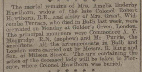 Death of Amelia Enderby Dow - Bath Chronicle and Weekly Gazette - Thursday 10 September 1908