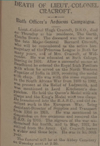 Death of Lt Col Cracroft - Bath Chronicle and Weekly Gazette - Saturday 12 May 1923