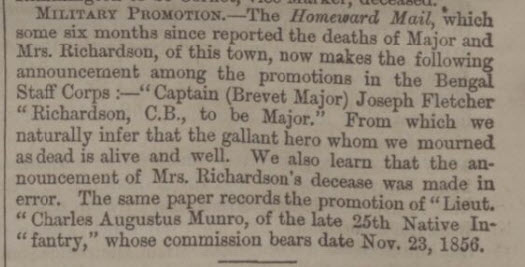 Death of Maj Richardson retracted - North Devon Journal - Thursday 25 December 1862