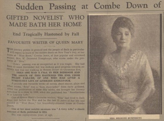 Death of 'Rita' - Bath Chronicle and Weekly Gazette - Saturday 8 January 1938