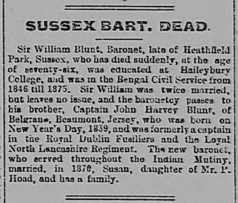 Death of Sir William Blunt - Portsmouth Evening News - Wednesday 31 December 1902
