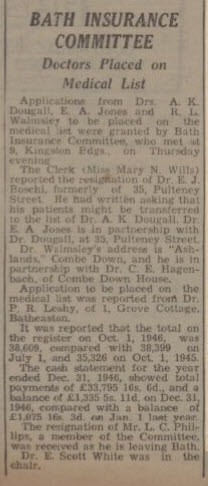Dr Robert Lane Walmsley - Bath Chronicle and Weekly Gazette - Saturday 1 February 1947