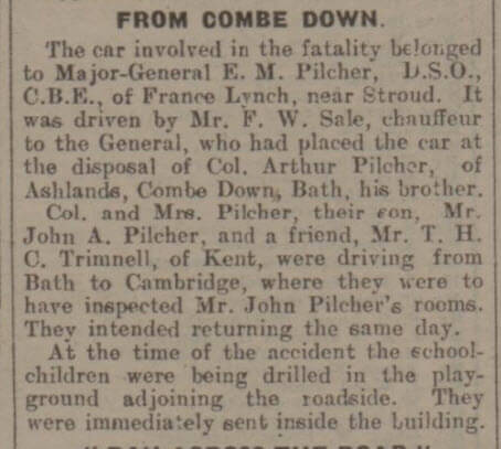 Extract from Fatality at Draycot Cerne - Bath Chronicle and Weekly Gazette - Saturday 26 September 1931