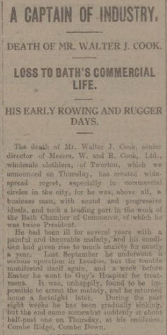 Extract from obituary of Walter John Cook - Bath Chronicle and Weekly Gazette - Saturday 20 June 1925
